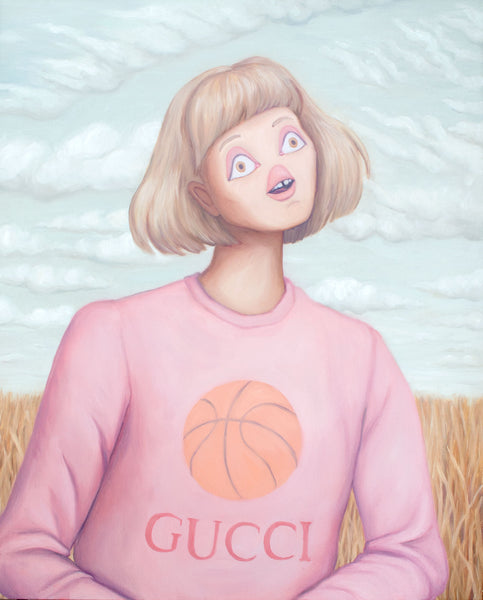 Woman with short blonde hair and bangs in a Gucci Basketball sweatshirt. She is seated in front of a partially cloudy sky and vast prairie. Original oil painting by contemporary canadian artist heather buchanan