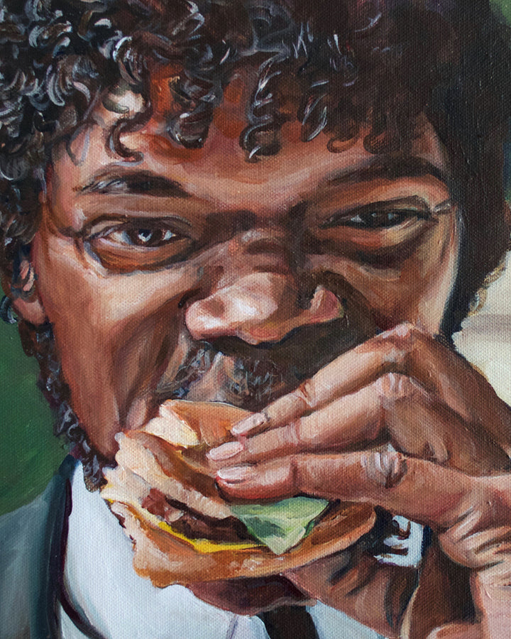 Jules Eats a Big Kahuna Burger - Pulp Fiction Painting - Portrait Print
