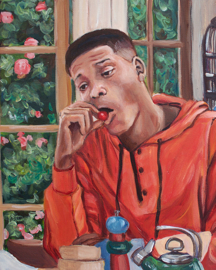 Will Eats a Cherry Tomato - Fresh Prince Will Smith Painting - Portrait Print