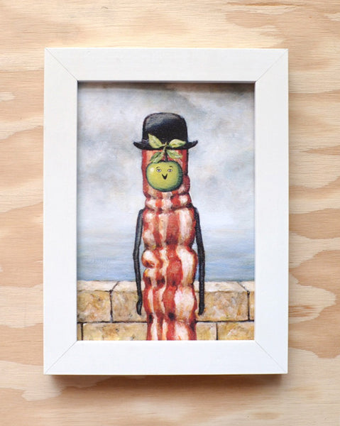 Son of Bacon - Magritte Surrealist Painting with Bacon - Illustration Print