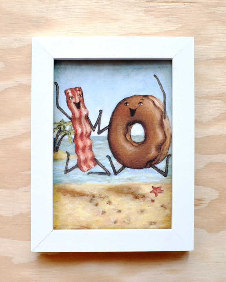 Bacon and Donut go on a Beach Vacation - Illustration Print