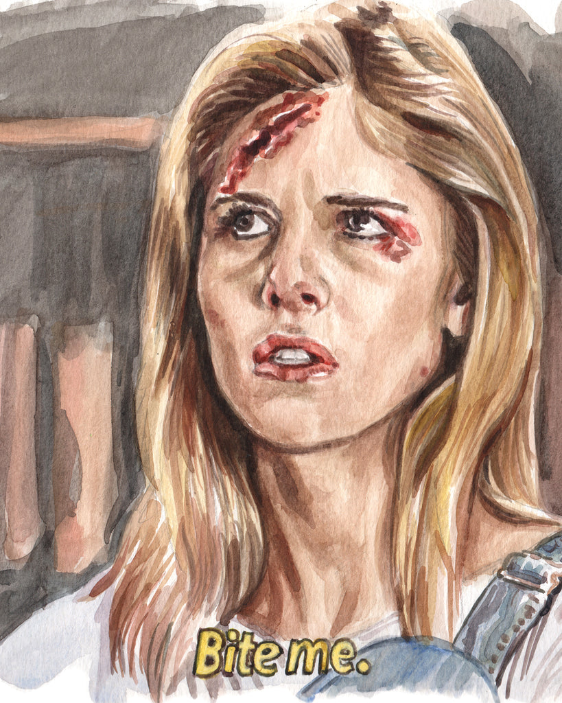 Buffy the Vampire Slayer - Bite Me - Watercolor Illustration Print
