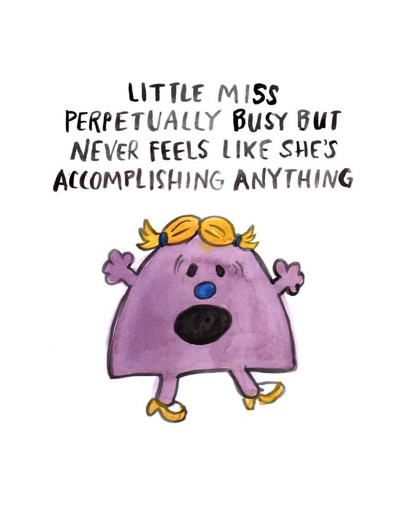Little Miss Perpetually Busy - Greeting Card