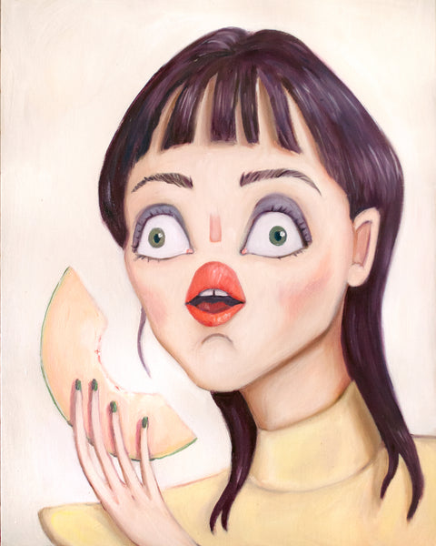 Painting of a woman with red lips eating a cantaloupe. Painting by Heather Buchanan