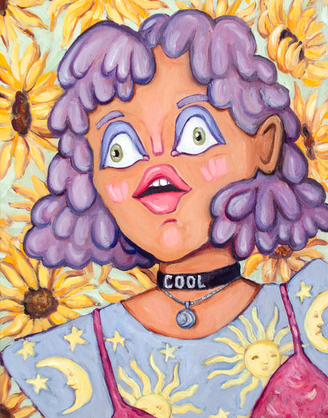 painting of woman with sunflowers in the background. her 1990s patterned shirt has suns and moons on it, layered with a velvet dress. She has curly textured hair, illustrated flatness, and a panicked look on her face. The things that make up this painting are calming, but it cumulates in anxiety. Original oil painting by artist Heather Buchanan