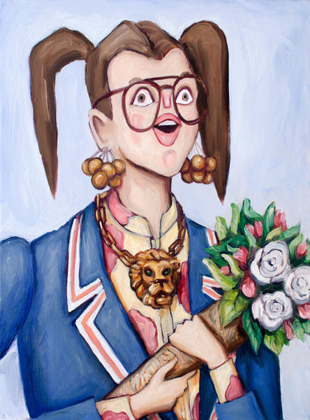 Edith is living her bliss, feeling her self. She holds a bouquet and is getting lavished with praise. Fine art portrait oil painting by contemporary artist Heather Buchanan. Edith is cool and hip and has a golden lion necklace.