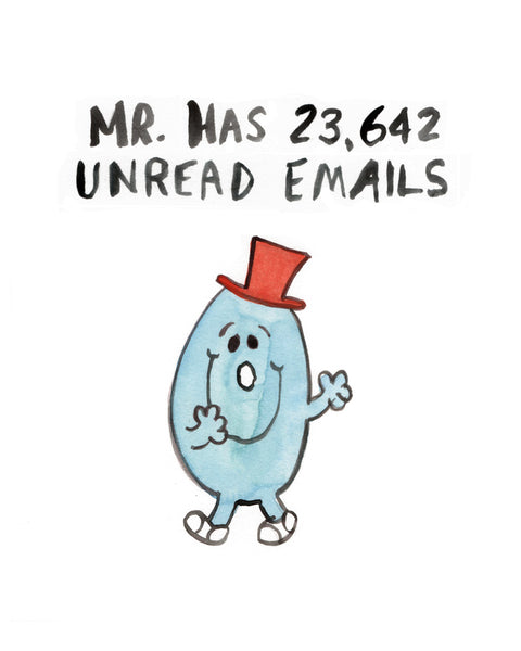 Mr. Unread Emails - Greeting Card