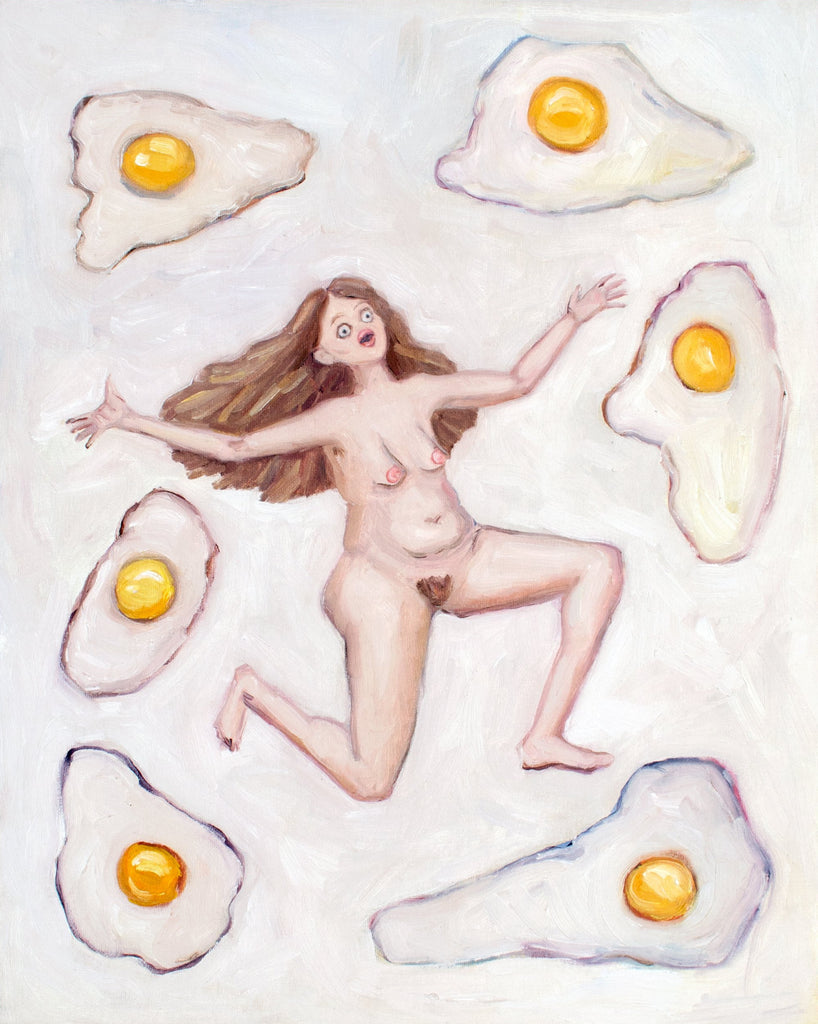 Nude woman with eggs oil painting. Contemporary art loose oil painting of a nude woman with long flowing hair and a lot of white eggs on a white background.
