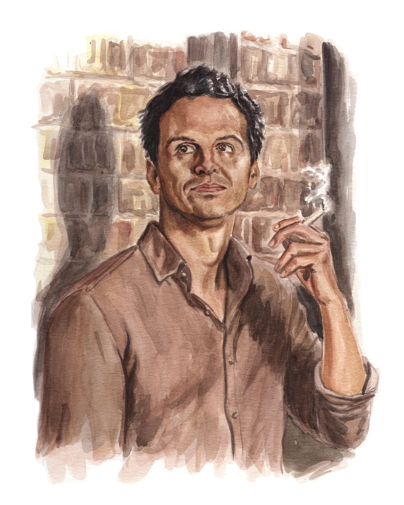 Andrew Scott as the Hot Priest in Fleabag. Original Watercolor painting. Fine art portrait of the Hot Priest