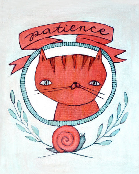Patience Cat - Illustration Print