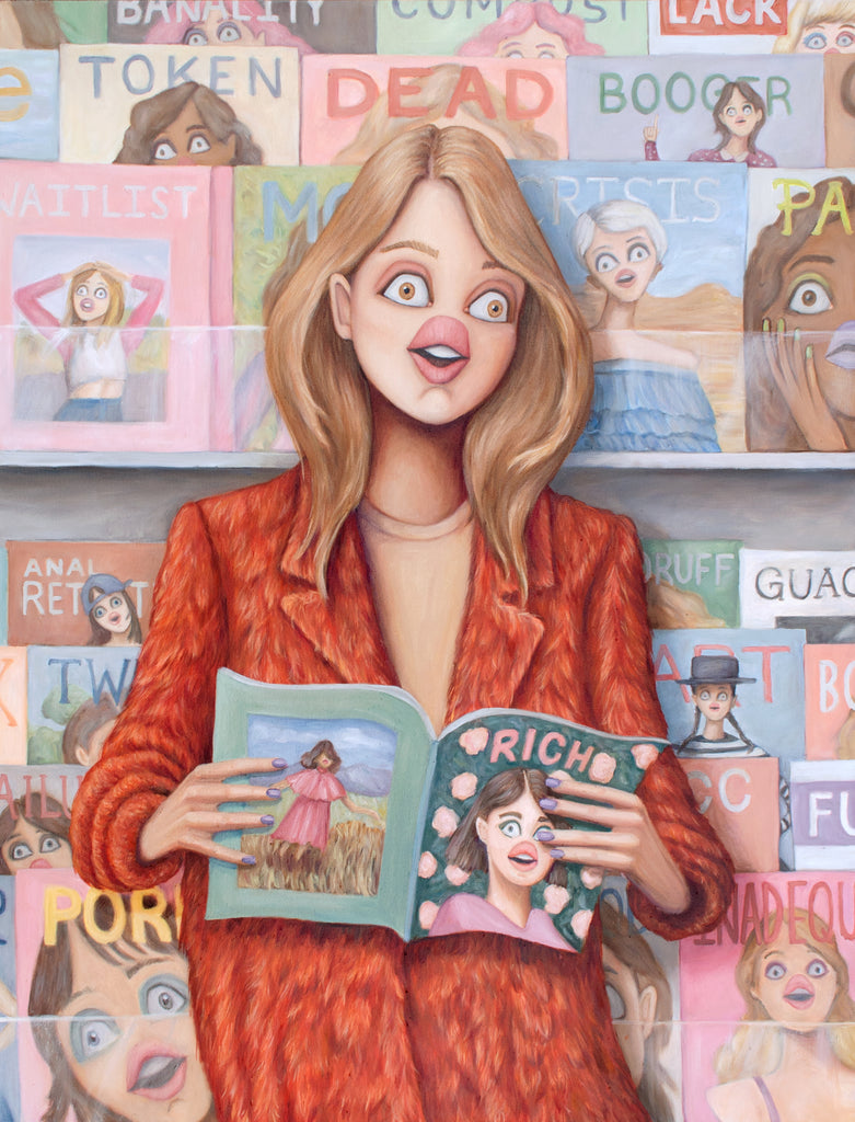 Painting of a woman in front of a magazine stand. She's reading Rich Magazine, and all the faces on the magazines behind her look stressed out. Contemporary canadian painting by artist Heather Buchanan