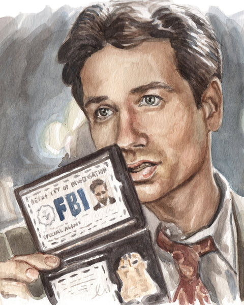 Mulder Flashing his Badge - X-Files Original Watercolor Painting