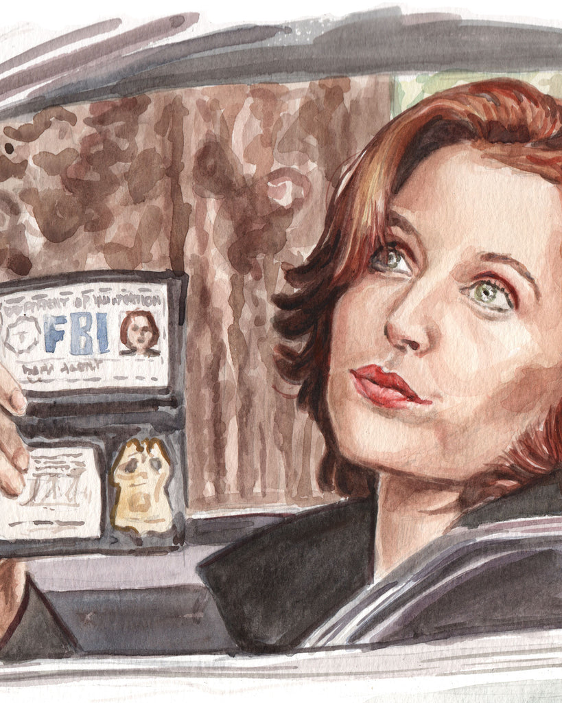 Scully Flashing her Badge - X-Files Original Watercolor Painting