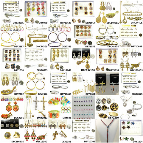 30 pc Holiday Special WHOLESALE FASHION JEWELRY LOT OF EARRINGS, RINGS, CZ, STUDS, HOOPS, RHINESTONE, BRACELETS