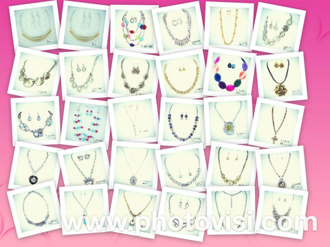 New 50/500pc Wholesale Lot of Quality Costume Jewelry Necklace Sets, Big Bling, Bulk Lot of Fashion Jewelry - Jackpotlots.com - 1
