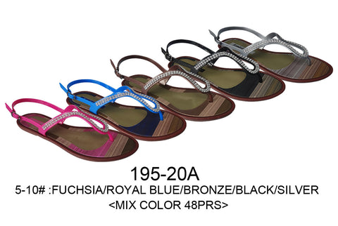 Bulk Wholesale Lot of Ladies Flip Flops Sandals, 48 Pairs in Assorted Colors,, Style 195-20A