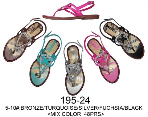 Bulk Wholesale Lot of Ladies Flip Flops Sandals, 48 Pairs in Assorted Colors, Style 195-24 - Jackpotlots.com