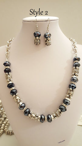 Wholesale Bali Bead Antiqued Silver Necklace and Earrings Sets, Quality