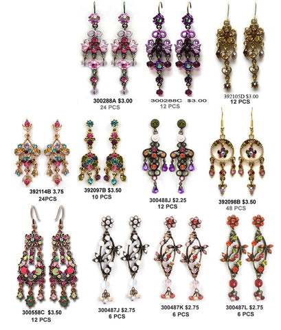 Wholesale Costume Jewelry Vintage Crystal Earrings Catalogue, Pick your styles