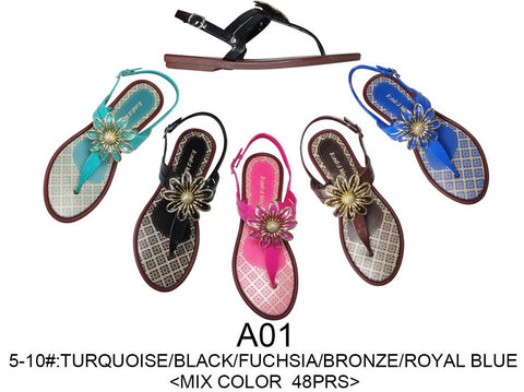Wholesale Lot of Ladies Flip Flops Sandals, 48 Pairs in Assorted Colors, Style A01 - Jackpotlots.com