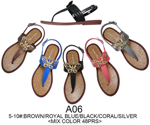 Butterfly Sandals Lot, 48 Pairs in Assorted Colors, Wholesale Flip Flops, Style A06 - Jackpotlots.com