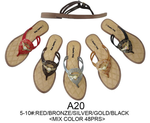 Wholesale Women's Sandals For Ladies, 48 Pairs in Assorted Colors, Style A20 - Jackpotlots.com