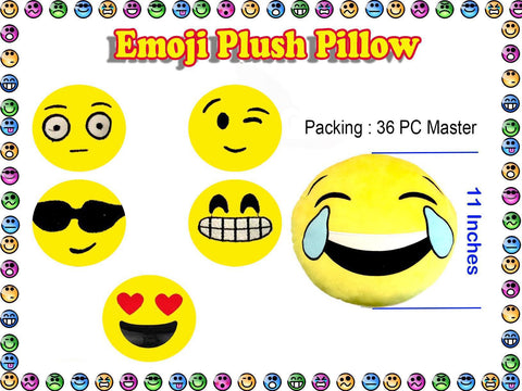 Wholesale Emoji Pillows, Case Lot of 36 Assorted Units, Best Dept. Store Quality Plush - Jackpotlots.com
