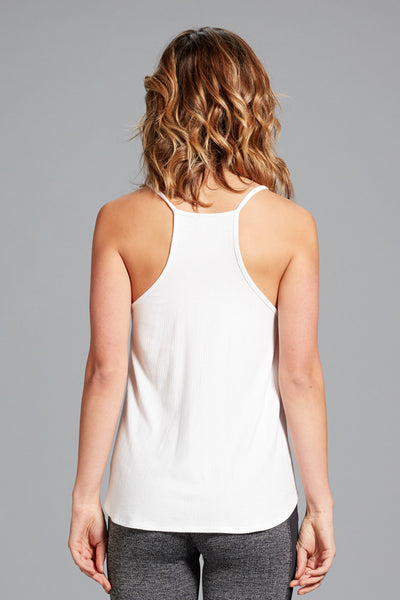 Ashley Split Neck Tank- White