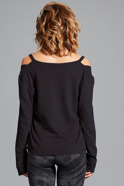 Amanda Cold Shoulder Top- Black