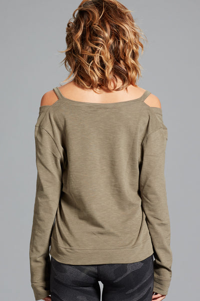 Amanda Cold Shoulder Top- Sage