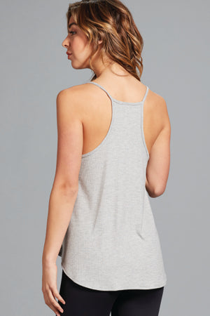 Ashley Split Neck Tank- Heather Grey