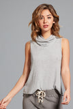 Cara Cowlneck Tank- Heather Grey