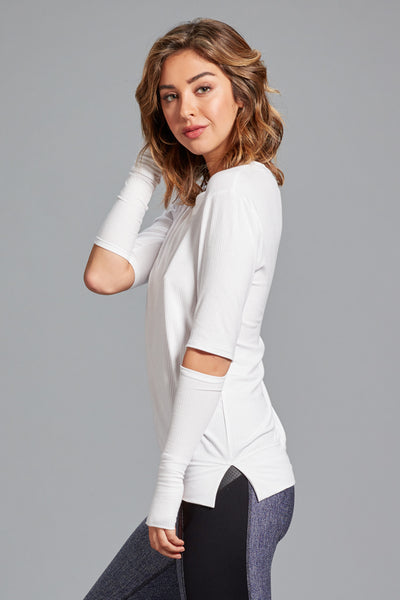 Cassidy Split Elbow Ribbed Top - White