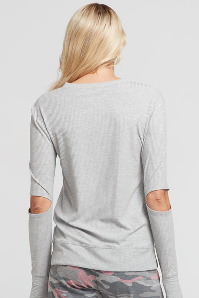 Cassidy Split Elbow Ribbed Top- Heather Grey