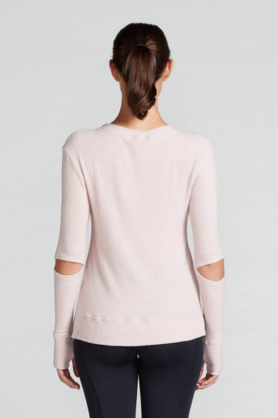 Cassidy Split Elbow Sweater- Blush