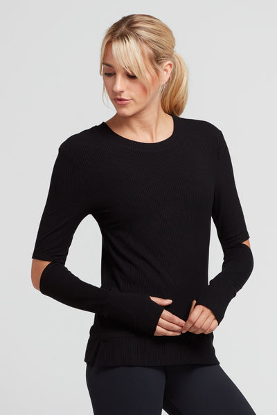 Cassidy Split Elbow Rib Top- Black