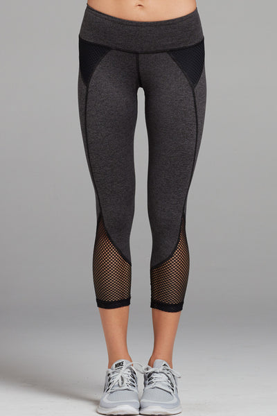 Demi Mesh Panel Capri in Heather Dye