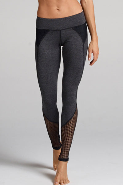 Demi Mesh Panel Legging in Heather Dye