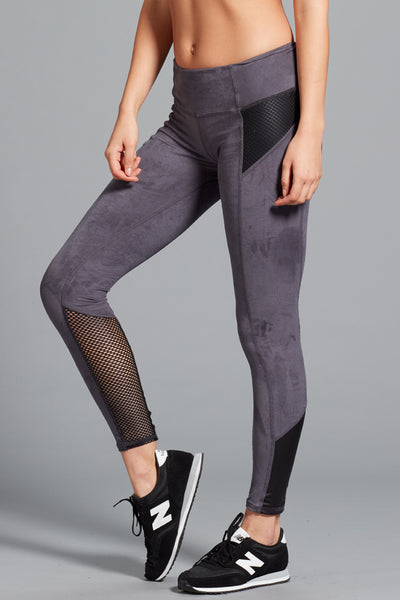 Gwen Suede Legging- Smoke/Black