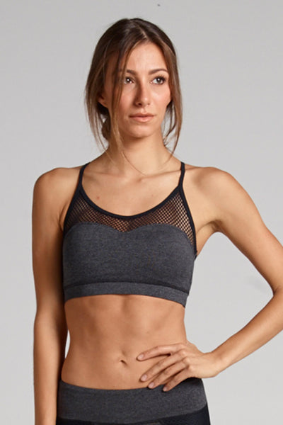 Halle Mesh Panel Bra in Heather Dye