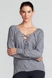 Jenni Lace Up Reversible Top- Heather Grey