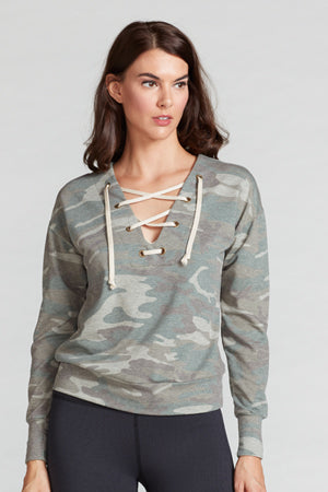 Marissa Lace Up Pullover - Camo