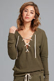 Marissa Lace Up Sweatshirt- Dusty Sage