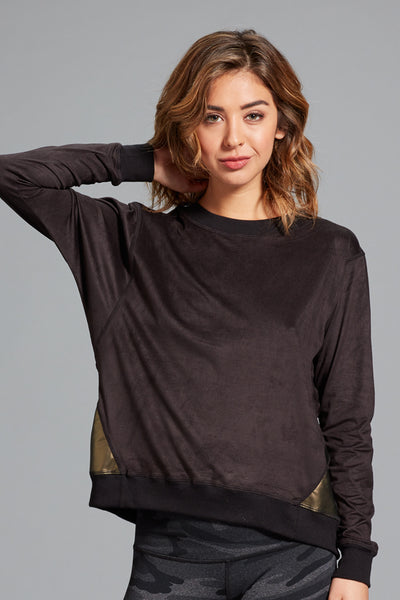 Pia Suede Sweatshirt- Black/Antique Gold