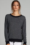 Pia Open Back Sweatshirt - Charcoal/Black
