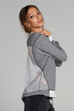 Pia Open Back Sweatshirt - Heather Grey/White