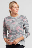 Pia Distressed Camo Sweatshirt