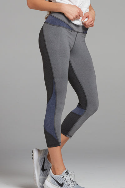 Selena Colorblock Capri- Heather Grey