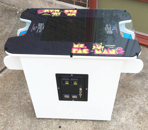 MS PACMAN COCKTAIL ARCADE IN WHITE , PLAYS MS PACMAN AND GALAGA TOO-FREE SHIPPING- 1 YEAR PARTS WARRANTY
