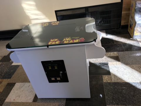 MS PACMAN COCKTAIL ARCADE IN All WHITE , PLAYS MS PACMAN AND GALAGA TOO-FREE SHIPPING- 1 YEAR PARTS WARRANTY